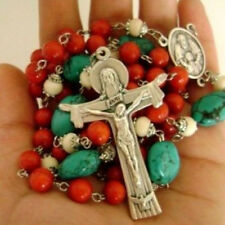 RED Coral & Turquoise Beads Catholic 5 Decade Rose Rosary Italy Cross Necklace