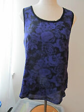 WOMENS Large Ali&Kris PURPLE and  BLACK rose FLORAL racerback T-BACK blouse TOP