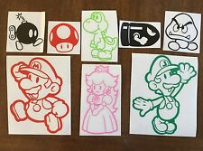 Mario Luigi Princess Peach Yoshi Toad 8 Piece Vinyl Decal Sticker Car Set