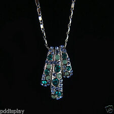14k white Gold GF Swarovski crystals solid pendant necklace