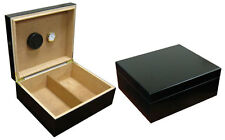 NEW CHALET 25-50 COUNT CIGAR HUMIDOR BOX WITH HUMIDIFIER & HYGROMETER - BLACK