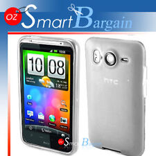 WHITE Soft Gel TPU Cover Case For HTC Desire HD + Film