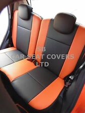 TO FIT A PEUGEOT 107, CAR SEAT COVERS, 2008 MODEL, CUSTOM MADE, BLACK / ORANGE