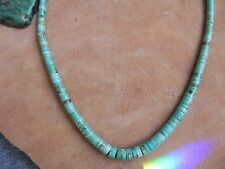 """Rolled Turquoise Necklace 18"""" Navajo"""