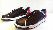 NIB MEN's PRADA SPAZZ LUX SAFFIANO SNEAKERS SIZE 11 US BLACK RED WHITE