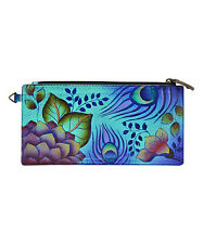 Anna by Anuschka Peacock Garden Hand - Painted  Leather Wallet  NWT