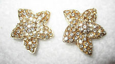 Vintage Ciner Gold Tone Rhinestone Flower Clip Earrings SIGNED --Superb!