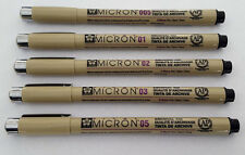 Set of 5 SAKURA Pigma Micron Pens Micro Pigment Ink Black Drawing Sketch Craft