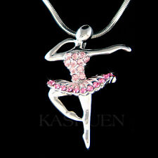 w Swarovski Crystal Pink BALLERINA The Nutcracker Ballet Dancer Necklace Jewelry