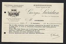 """PARIS (XVII°) MATIERES PREMIERES pour PARFUMERIE """"Georges LARIDAN"""" en 1929"""