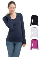 Ladies Womens Womans Plain Cotton Long Sleeve Vee V-Neck Tee T-Shirt