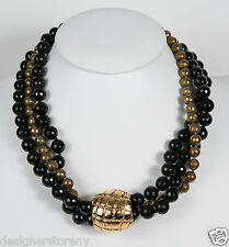 Simon Sebbag Sterling Silver 4 String Faceted Black Onyx Gold Bead Necklace