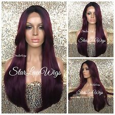 Human Hair Blend Long Lace Front Wig Straight Burgundy Dark Root Bangs Heat Safe