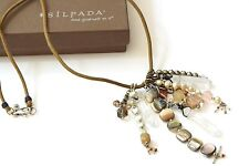 "Silpada ""Joyful Gathering"" Pyrite Shell Quartz Pearl Leather Necklace N2441 RARE"