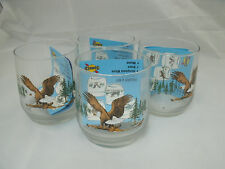 Libbey Rock Sharpe Sunoco AMERICAN WILDLIFE 4 Eagle Old Fashioned Tumblers NEW