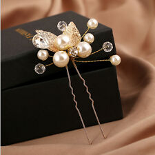 1Pc Gold Flower Crystal Wedding Bridesmaid Hairpin Priness Hair Style Accessory