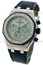 Audemars Piguet Royal Oak Ladies Chronograph, Blue Dial, Diamond Bezel 25986CK