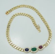 """18K Solid Yellow Gold Ruby Emerald Sapphire Diamond Heavy Bold 17"""" Necklace B657"""