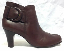 NURTURE Sz 9.5 M Women's Danah Brown Leather Side Zipper Ankle Boots