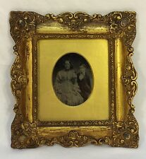 Antique Mid 19th Century Tintype Mother & Son Original Ornate Gold Gilt Frame