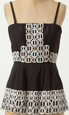 HD in Paris Cotton Architecture Corset Top Size 10 Black NW ANTHROPOLOGIE Tag