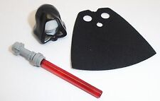 Lego Black Hood, Red Lightsaber & Custom Black Cape