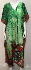 PLUS SIZE FUNKY PARROT FEATHER PRINT KAFTAN MAXI DRESS GREEN 22 24 26 28 30 32