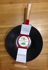 14in/35cm di diametro filato in acciaio Wok antiaderente manico di bambù