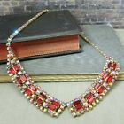 Vintage Ruby Red Iridescent Rhinestone Choker Collar Necklace