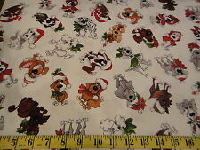 Dressed Dogs Toss Cotton Fabric Doggie Holiday Fabric Loralie Harris White