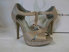 Style & Co Size 6.5 M Suki Champagne Open Toe Heels New Womens Shoes