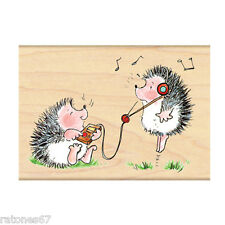 New Penny Black YOU MAKE ME BOB Rubber Stamp Friends Hedgehog Music Critters