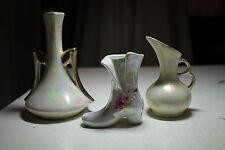 lot 3 vtg  bud flower vases victorian shoe figurine two finger handle