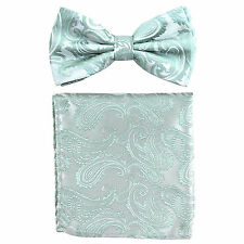 New formal Men's micro fiber Pre-tied Bow Tie & Hankie mint green paisley