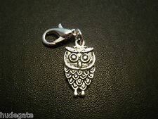 10 Silver Tone Owl Clip on Charms for Bracelets Wholesale Jewellery Job Lot