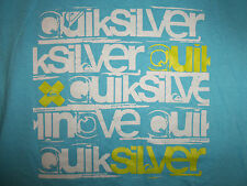 Quicksilver Surf Clothing Brand Snowboarding Blue Graphic Print T Shirt - S