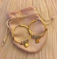 Authentic Juicy Couture Gold Color Crystal Logo Heart Charm Hoop Earrings