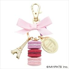 Paris LADUREE Key Chain Ring Macaron Pink Kawaii Elliptic box japan Present