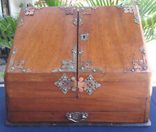 Antique Letter Box Solid Wood Desk Top carrying Handles good condition key