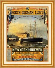 North German Lloyd New York Bremen London Havre Paris Dampfer Plakate A3 314