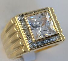 Mens ring 9.1 carat lab-created Diamond 18K yellow gold overlay size 11