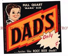 """Scarce unused Dad's Root Beer """"Mama Sized"""" label Tavern Trove"""