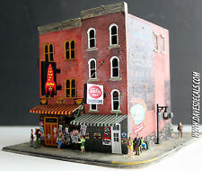 OOAK 1:87 HO PRO BUILT/LIT CLUB ATOMIC CHECK CAFE DIORAMA  LOTS OF DETAILS PEEPS