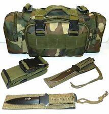 Molle Camo Outdoor Camping Hunting Pouch & Full Tang Survival Knife Knives Combo