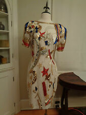 NITELINE stunning cocktail dress sequins & beads stars women's 12 NWT $385