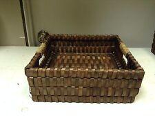 Dark Brown Woven Wicker Office Bathroom Storage Organizer Tray Basket 12x12x4.5