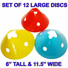 Set of 12 LARGE RED, YELLOW or BLUE FIELD MARKING DISCS CONES SOCCER  FOOTBALL