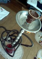 "28"" Hookah Red Glass Base w/ Two Hoses Stainless  Stem & Ash Tray Never Used"