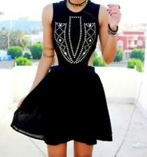 Love Black Cut Out Studded Front Skater Dress Black Size S/M RRP £43 Box4349 M