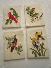 FOUR VINTAGE SUNSET STITCHERY BIRDS CREWEL EMBROIDERED PICTURES, FABULOUS WORK!